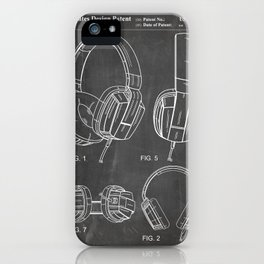 Headphones Patent - Head Phones Art - Black Chalkboard iPhone Case