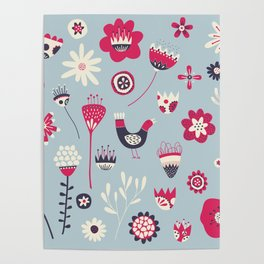 Scandi Birds and Flowers Blue Poster