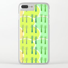 Trees and colorful clouds Clear iPhone Case