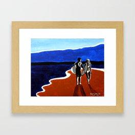 Blue and Tan Framed Art Print