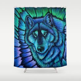 Blue Wolf Aurora Colorful Fantasy Shower Curtain