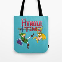 hyrule Tote Bags featuring Hyrule Time by Marcos Raya Delgado