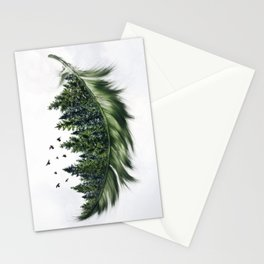 Earth Feather • Green Feather (vertical) Stationery Cards