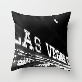Vintage Las Vegas Sign - Black and White Photography Throw Pillow