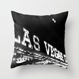 Vintage Las Vegas Sign - Black and White Photography Throw Pillow