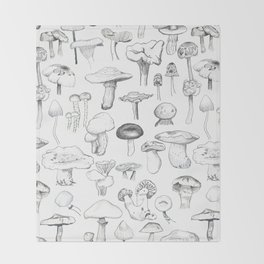 The mushroom gang Throw Blanket
