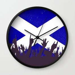 Scotland Flag with Audience Wall Clock