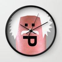 einstein Wall Clocks featuring einstein by Panic Junkie