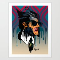 karl lagerfeld Art Prints featuring wolvereen  vs Karl Lagerfeld  by el brujo