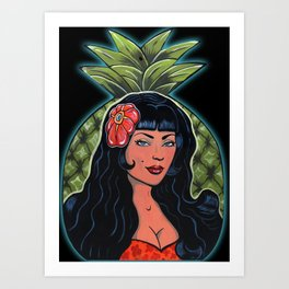 Beautiful Hawaiian Pinup Hula Girl Pineapple Princess  Art Print
