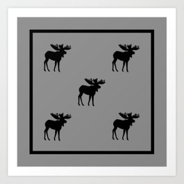 Bull Moose Silhouette - Black on Gray Art Print