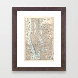 Vintage Map of New York City (1893) Framed Art Print
