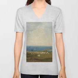 'Coastal Scene and Tidal Ponds' landscape by Gilbert Munger Unisex V-Neck