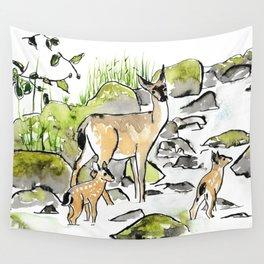 Deer in Creek Wall Tapestry