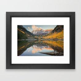 MAROON BELLS AUTUMN SUNRISE COLORADO LANDSCAPE PHOTOGRAPHY Framed Art Print
