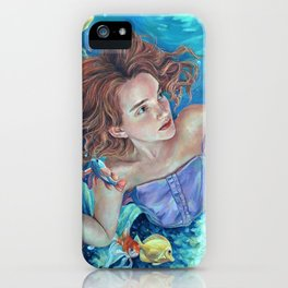 Life Under the Sea, oil painting portrait of little mermaid Ariel swimming, fish tropical ocean iPhone Case
