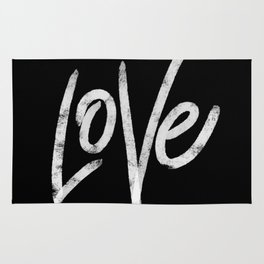 Black and White Love Typography Rug