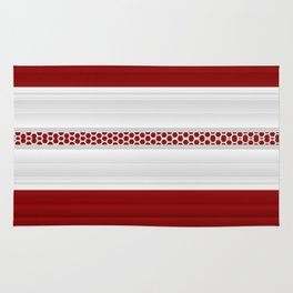 Bright Red And White Textured Striped  Ribbon Rug