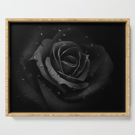 Black Rose with dew drops - Black beauty Serving Tray