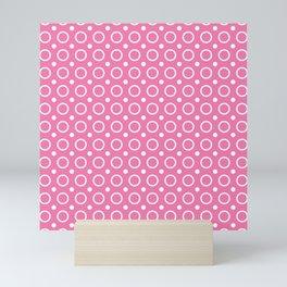 Candy pink and white circles and small polka dots pattern Mini Art Print