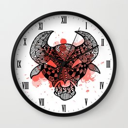 Zodiac Zentangle - Taurus Wall Clock
