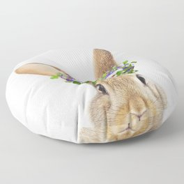 Bunny Flowers Crown Print by Zouzounio Art Floor Pillow