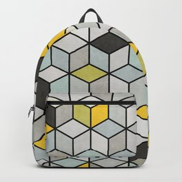 Colorful Concrete Cubes - Yellow, Blue, Grey Backpack