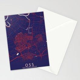 Oss, Netherlands, Blue City Map Stationery Cards