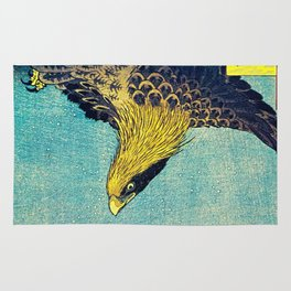 Hiroshige, Hawk Flight Over Field Rug