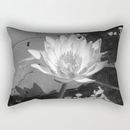 Elegant and classic Water Lily on a Pond in Black and White syle Rectangular Pillow