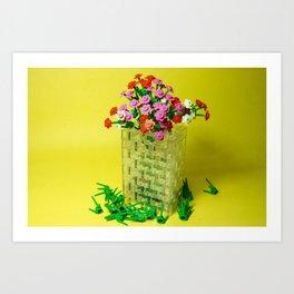 Lego Vase With Flowers Art Print