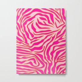 Zebra Print Pink And Orange Zebra Stripes Wild Animal Print Preppy Decor Modern Zebra Pattern Metal Print