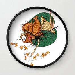 Girl and fish Wall Clock