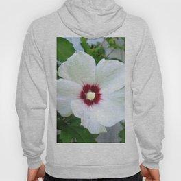 White Hibiscus Flower Ruffle Hoody