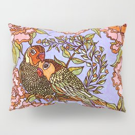 Lovebirds With Peony Wreath Pillow Sham
