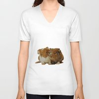 pigs V-neck T-shirts featuring Guinea pigs by Guna Andersone & Mario Raats - G&M Studi