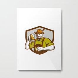 Oktoberfest Bavarian Beer Drinker Shield Retro Metal Print