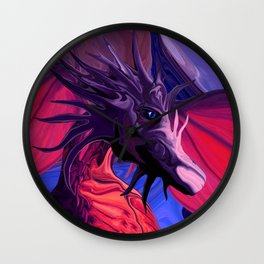 Jewel Toned Dragon of the Amethyst and Ruby Caverns Wall Clock