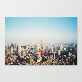 Tokyo Cityscape With Tokyo Tower on Sunny Day Shot on Film (Porta 400) Canvas Print