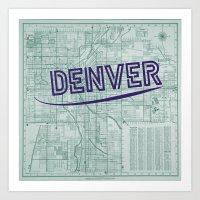 denver Art Prints featuring Denver by Dweezle