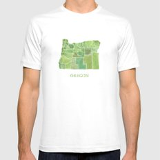 Oregon Counties watercolor map White MEDIUM Mens Fitted Tee