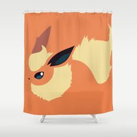 sylveon Shower Curtains featuring Flareon by Rebekhaart