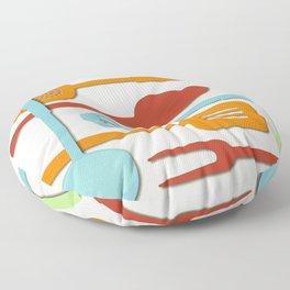 Kitchen Colored Utensil Silhouettes on Cream III Floor Pillow