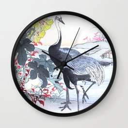 Couple Of Cranes And Yellow Flowers - Vintage Japanese Woodblock Print Art By Kono Bairei Wall Clock