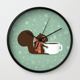 Squirrel Coffee Lover Holiday Wall Clock