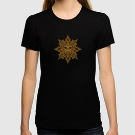 Ancient Yellow and Black Aztec Sun Mask T-shirt