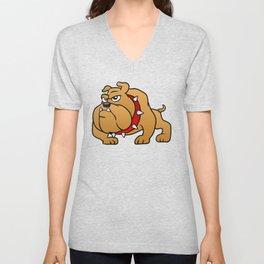 brown bulldog Unisex V-Neck