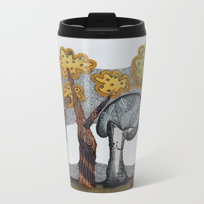 Autumnal Grove Metal Travel Mug