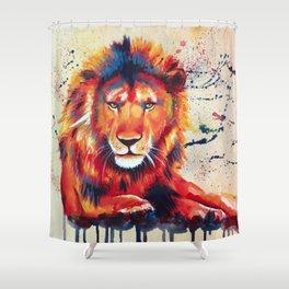 Quiet Ferocity - Original Lion Painting Shower Curtain