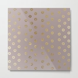 Elegant and Girly Faux Gold Glitter Dots Beige Metal Print